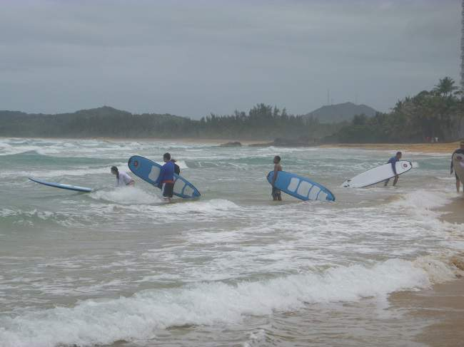 Surfing on Easter in Puerto Rico